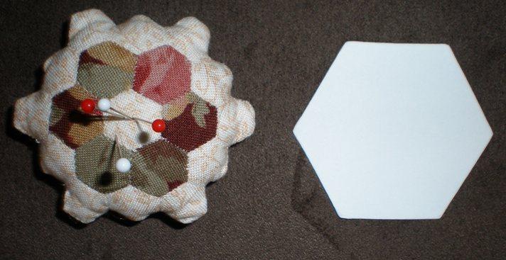 Quarter inch hexagon pincushion