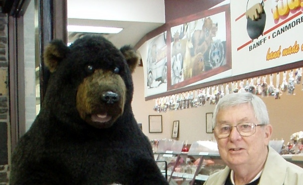 Dad and the bear in Banff